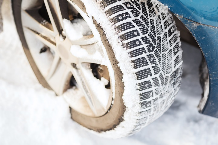 closeup of car winter tire