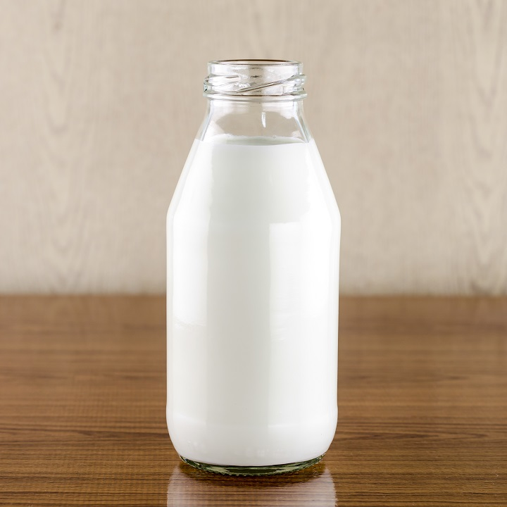 milk in a glass of bottle