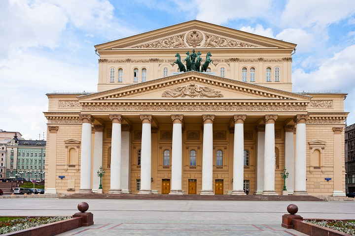 front view of Bolshoi Theatre building in Moscow, Russia