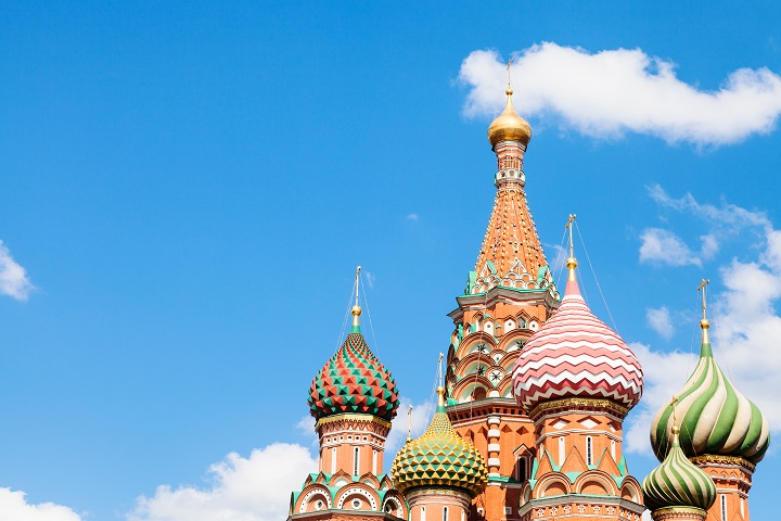 Saint Basil cathedral on Red Square in Moscow and blue sky with white clouds in sunny summer day