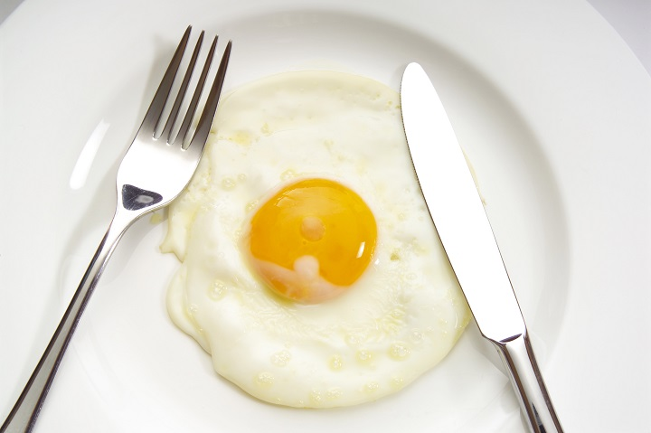 Fried egg on a plate