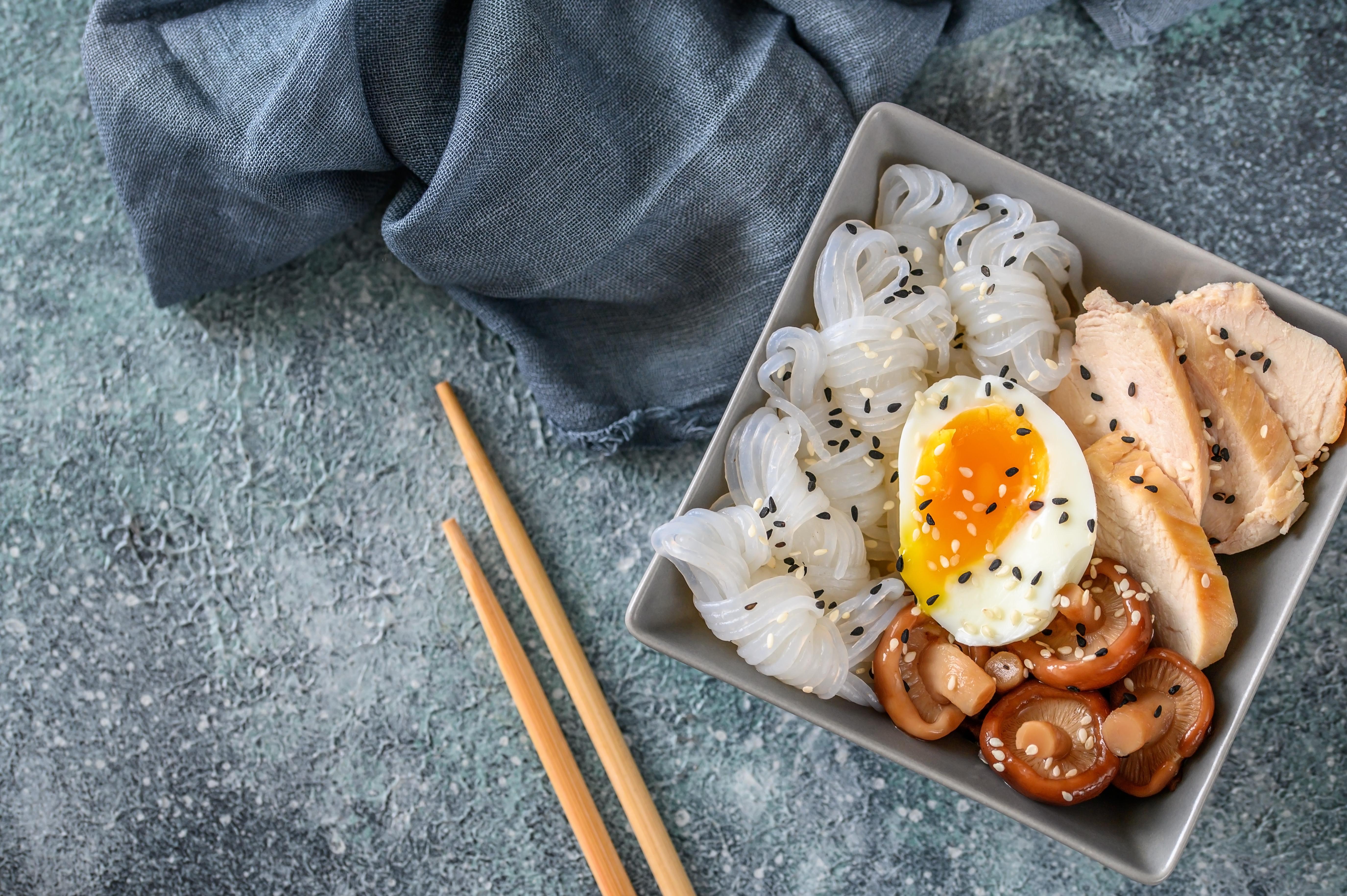Bowl of Asian food with konnyaku