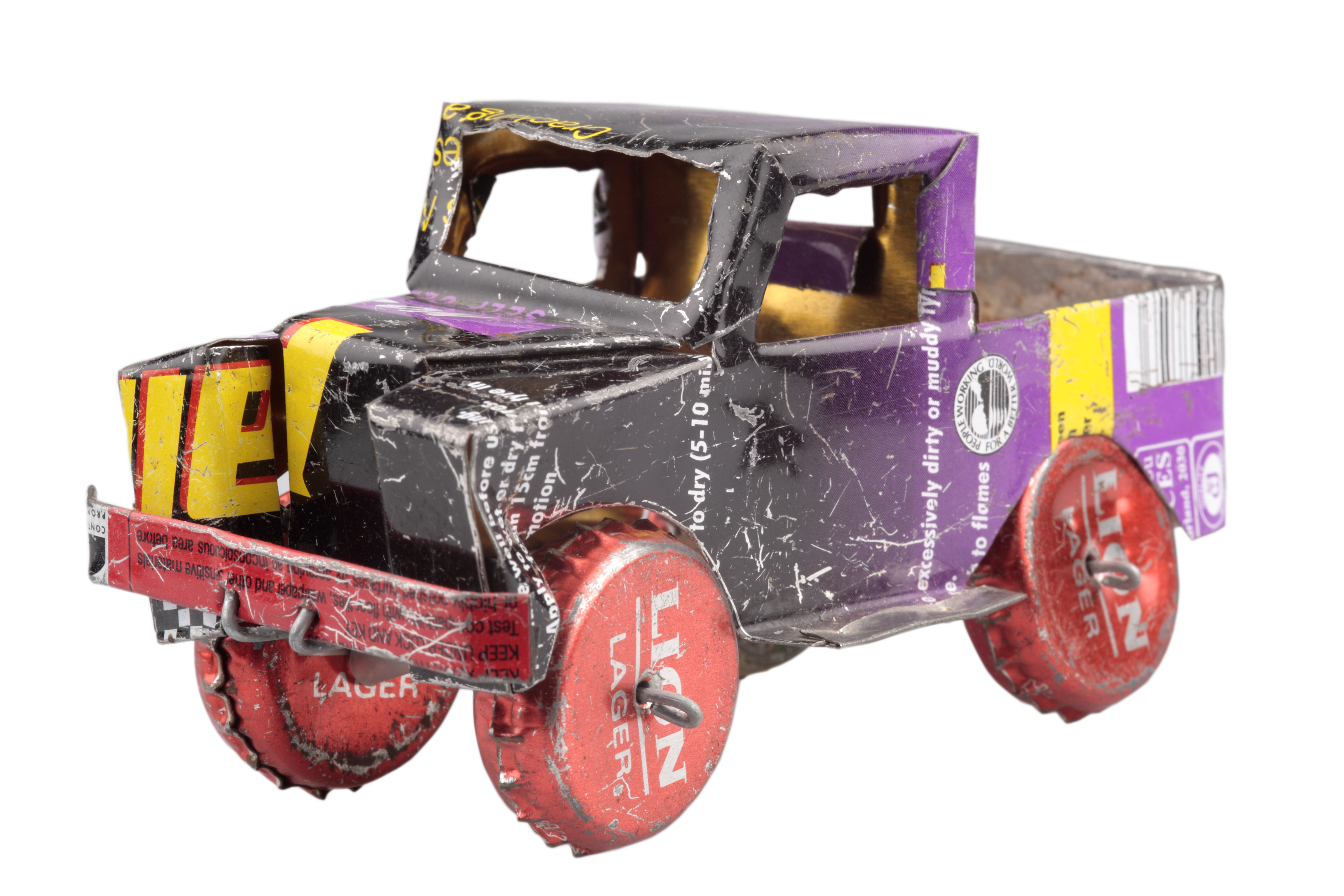 Toy truck made from drinks cans